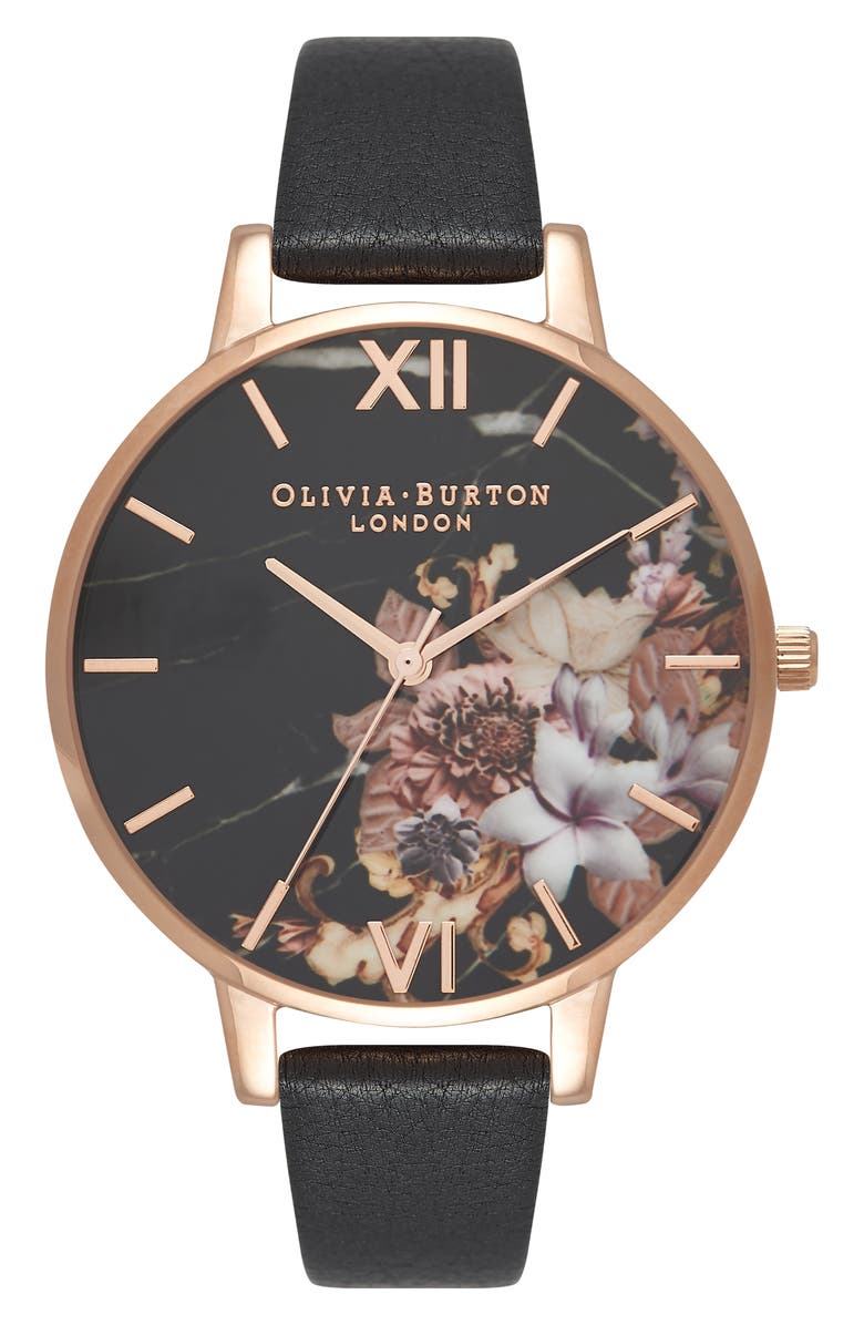 OLIVIA BURTON Marble Floral Leather Strap Watch, 38mm, Main, color, 001