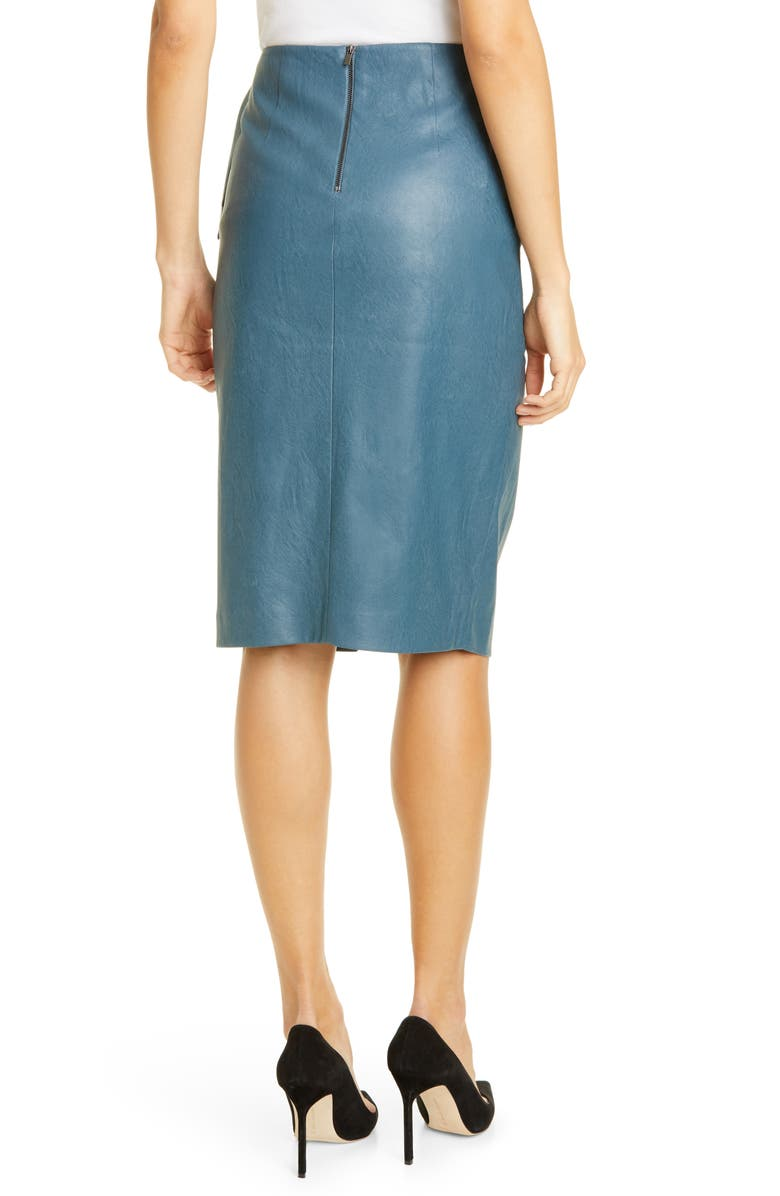 REBECCA TAYLOR Faux Leather Skirt, Alternate, color, WAVE