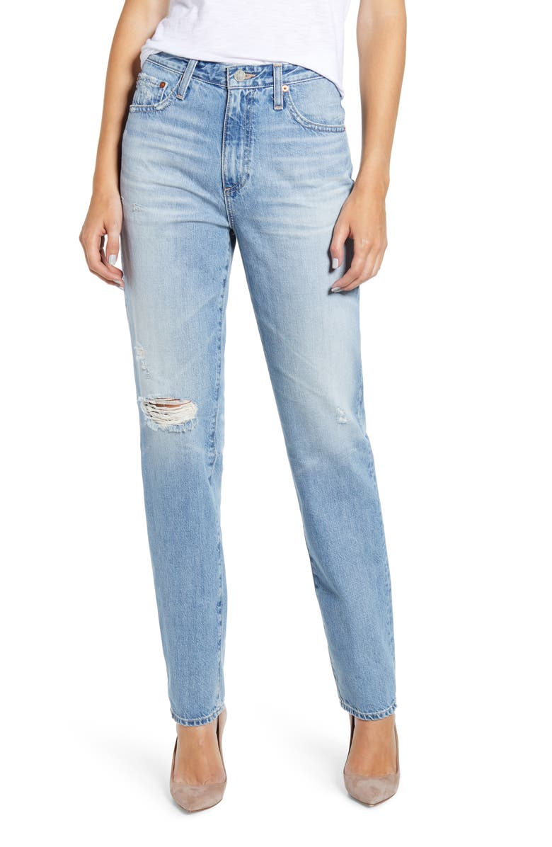 AG The Phoebe Extended High Rise Slim Straight Leg Jeans, Main, color, 22YRS HOMAGE