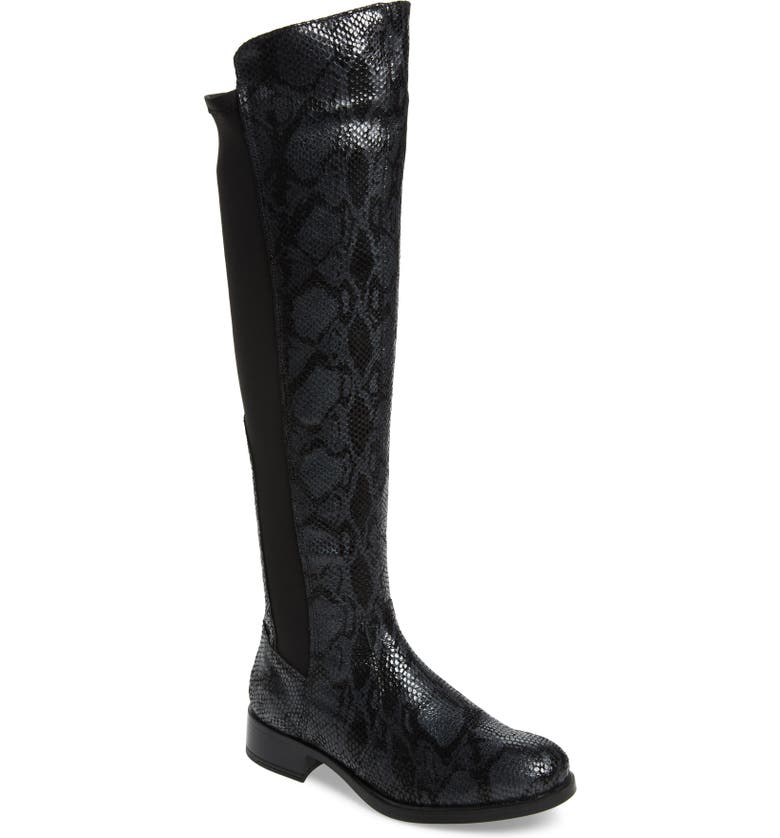 BOS. & CO. Bunt Waterproof Over the Knee Boot, Main, color, BLACK SNAKE PRINT LEATHER