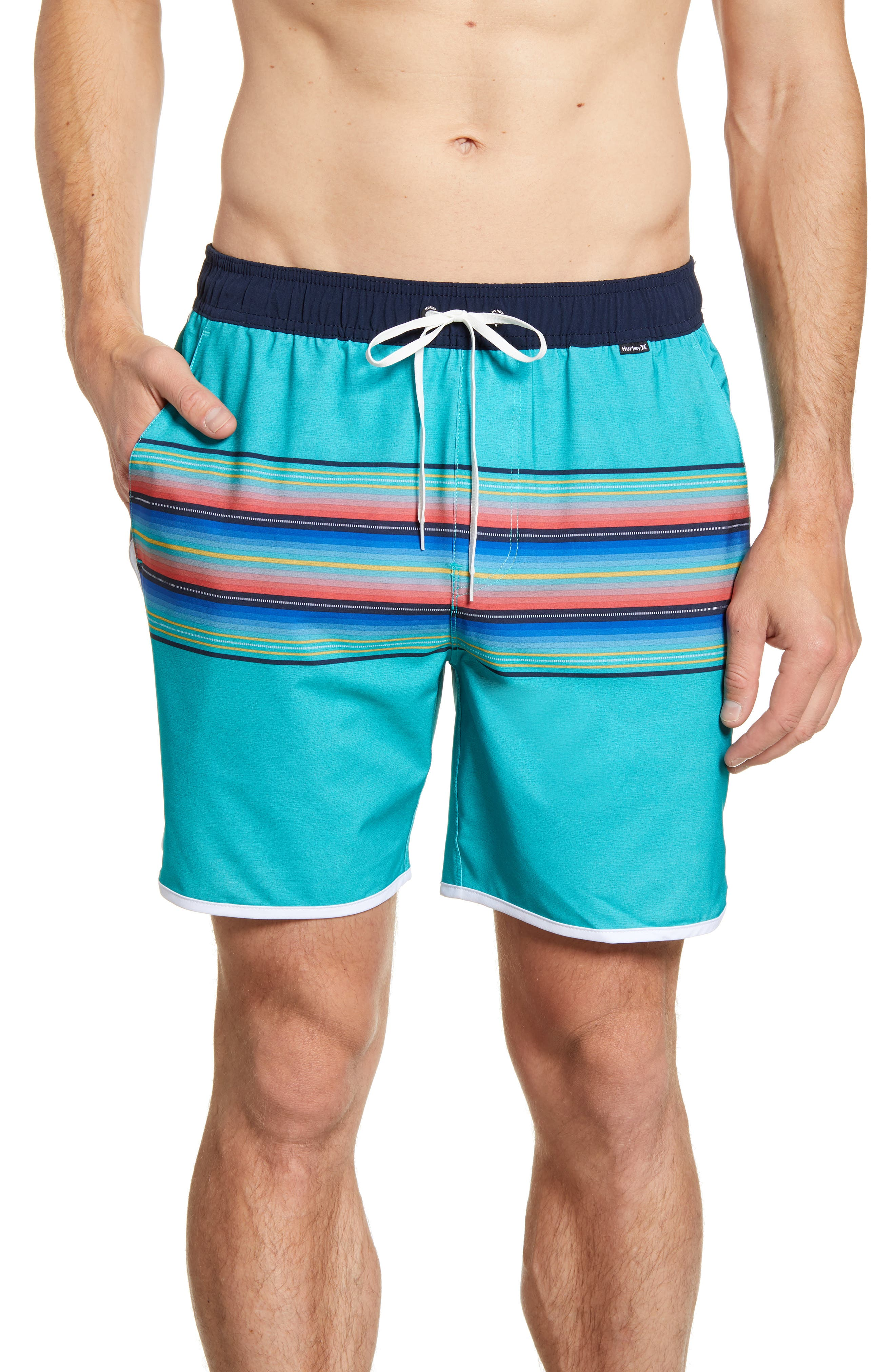 Hurley Phantom Baja Malibu Volley Swim Trunks, Blue/green