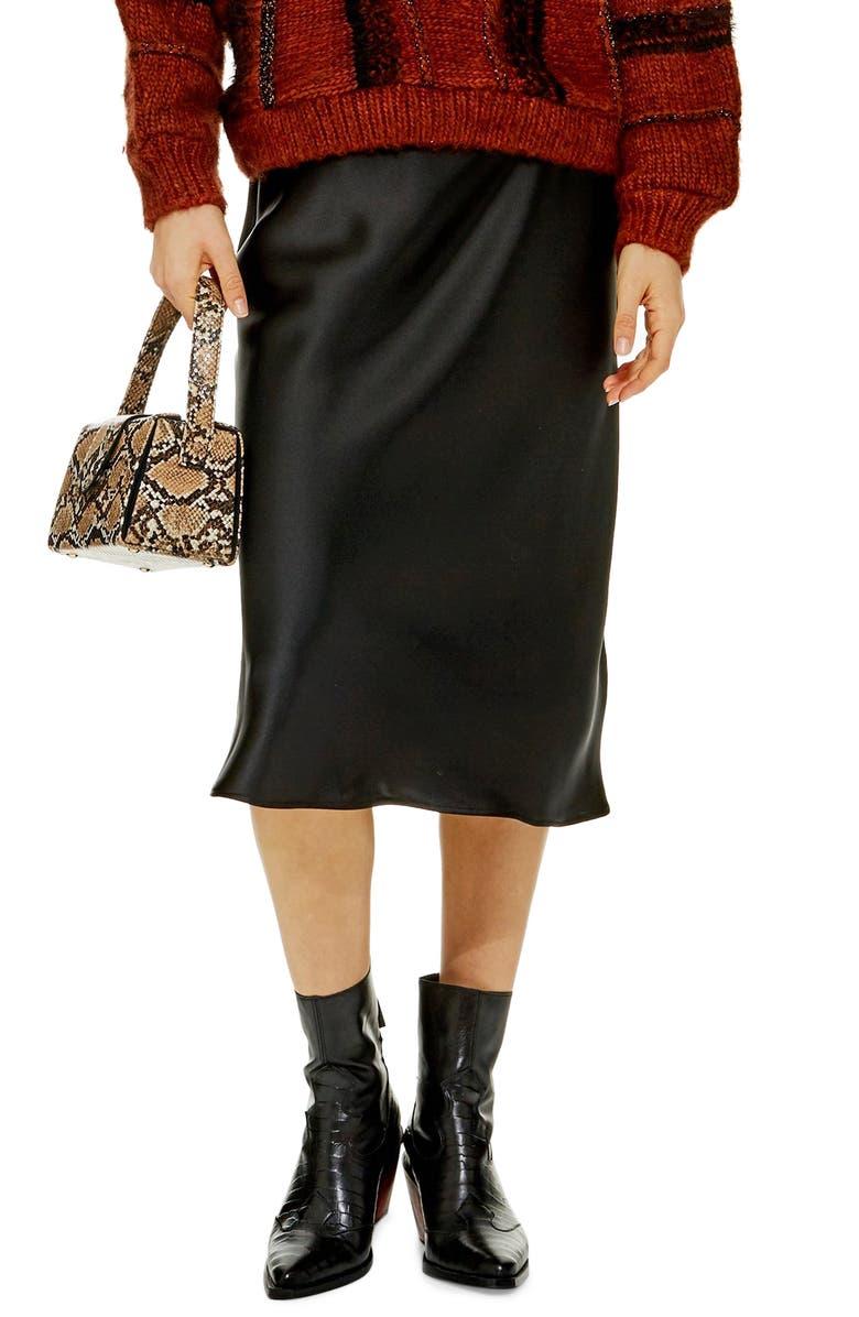 TOPSHOP Satin Midi Skirt, Main, color, BLACK