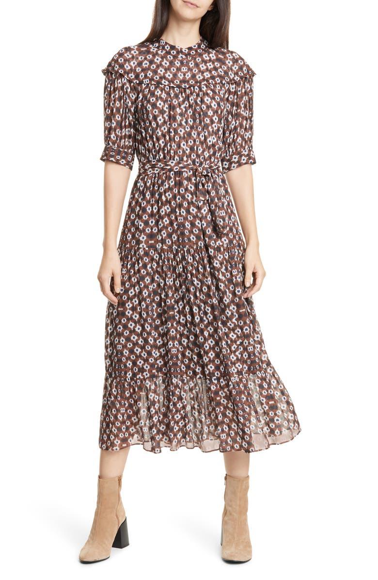 SEA Alha Print Tiered Midi Dress, Main, color, 230
