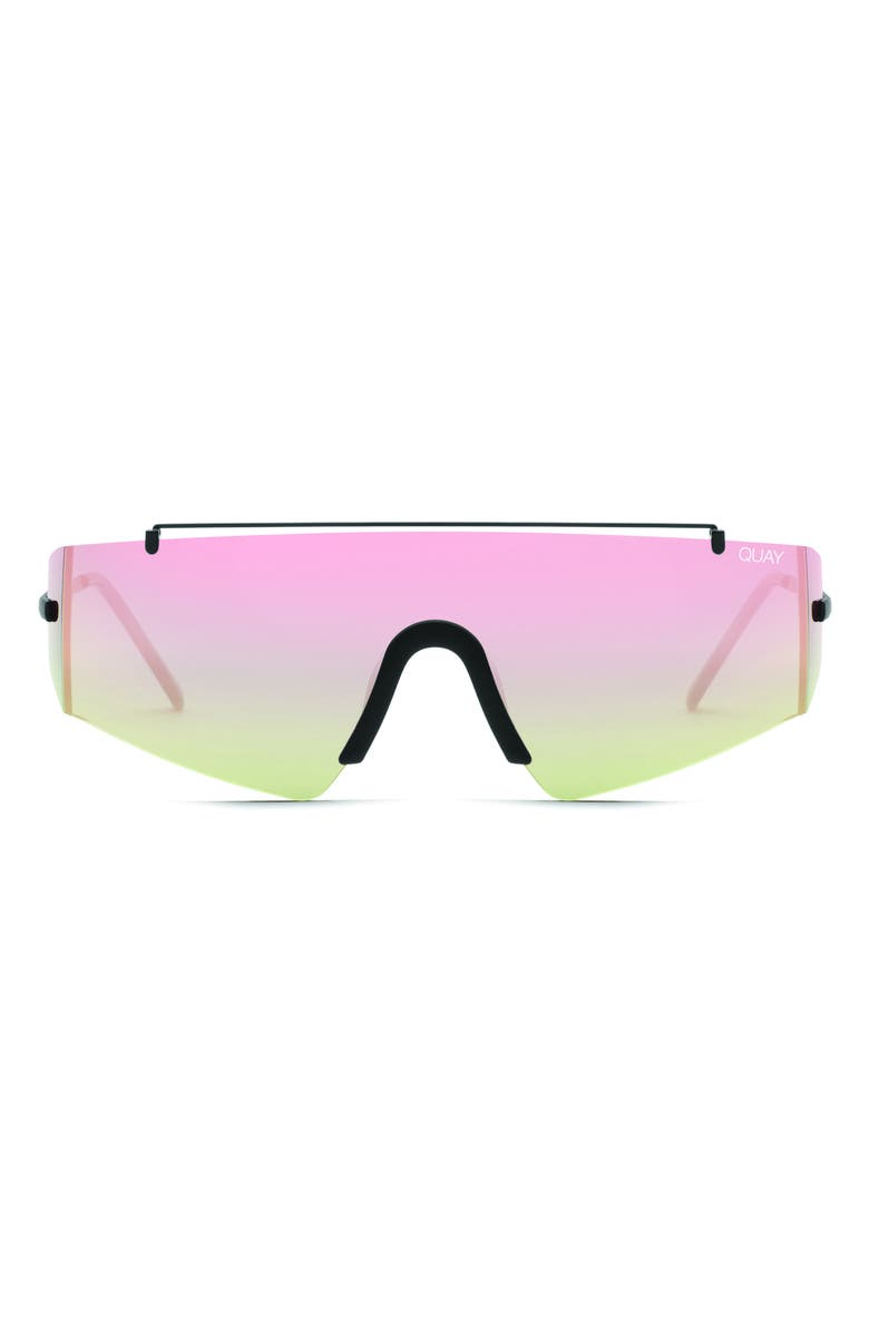 QUAY AUSTRALIA Transcend 141mm Shield Sunglasses, Main, color, BLACK/ ROSE GOLD