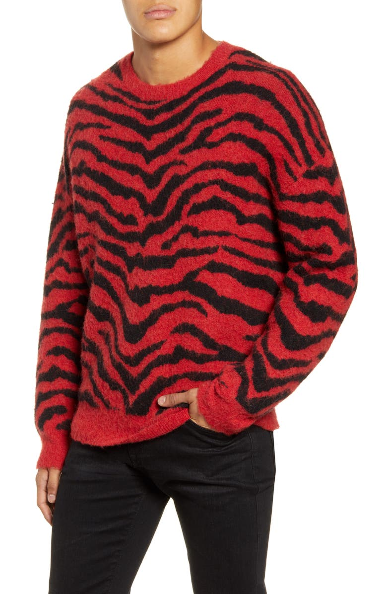 ALLSAINTS Tigre Crewneck Wool Blend Sweater, Main, color, CRIMSON RED/ BLACK