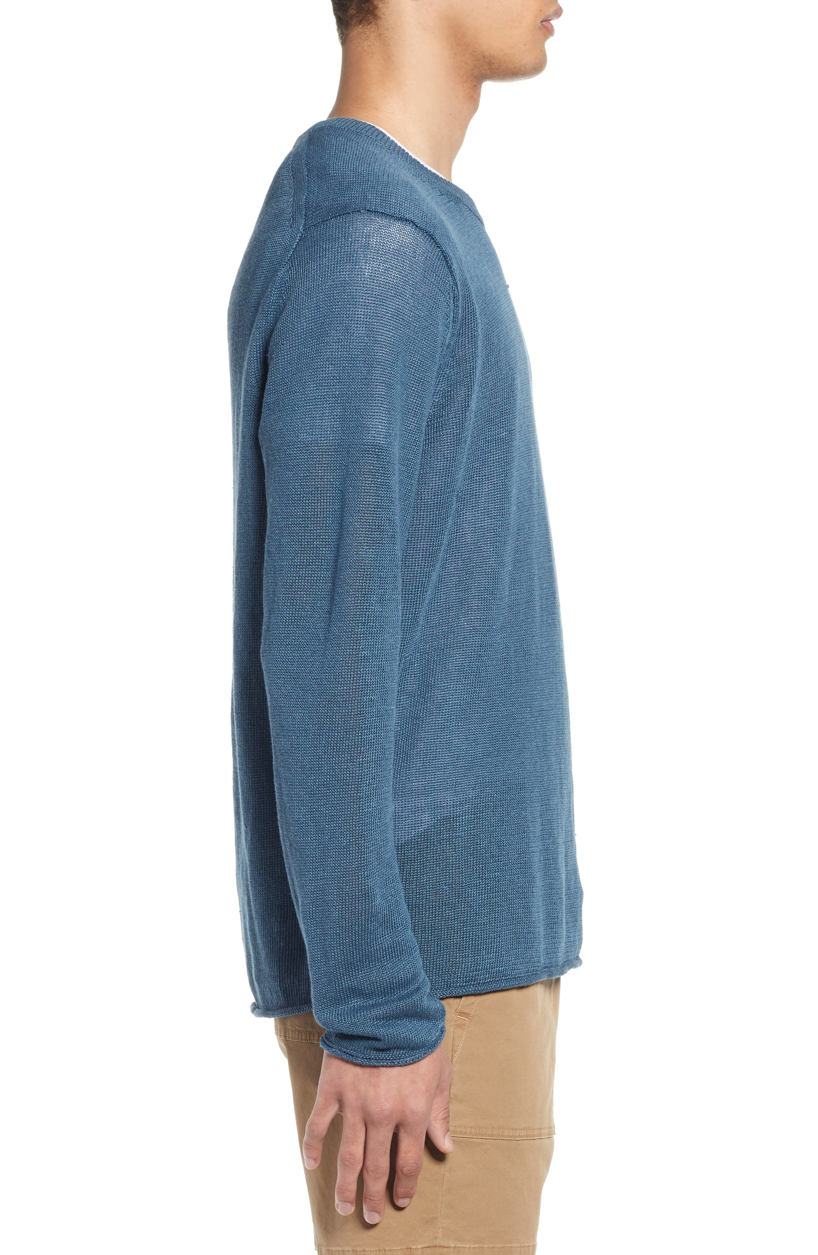 ,                             Crewneck Linen Sweater,                             Alternate thumbnail 3, color,                             MARIN