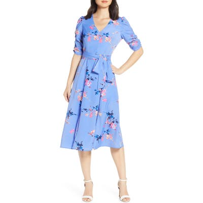 Eliza J Floral Ruched Sleeve Crepe De Chine Midi Dress, 8 (similar to 1) - Blue