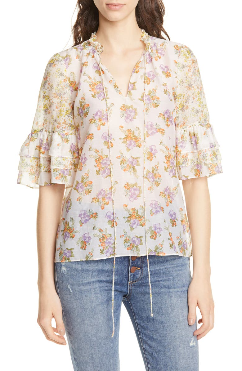ALICE + OLIVIA Julius Tiered Sleeve Floral Blouse, Main, color, 900