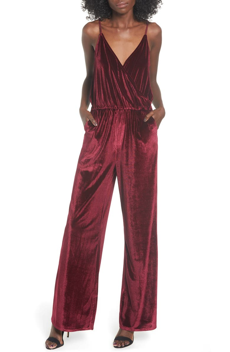 LIRA CLOTHING Velvet Jumpsuit, Main, color, WINE