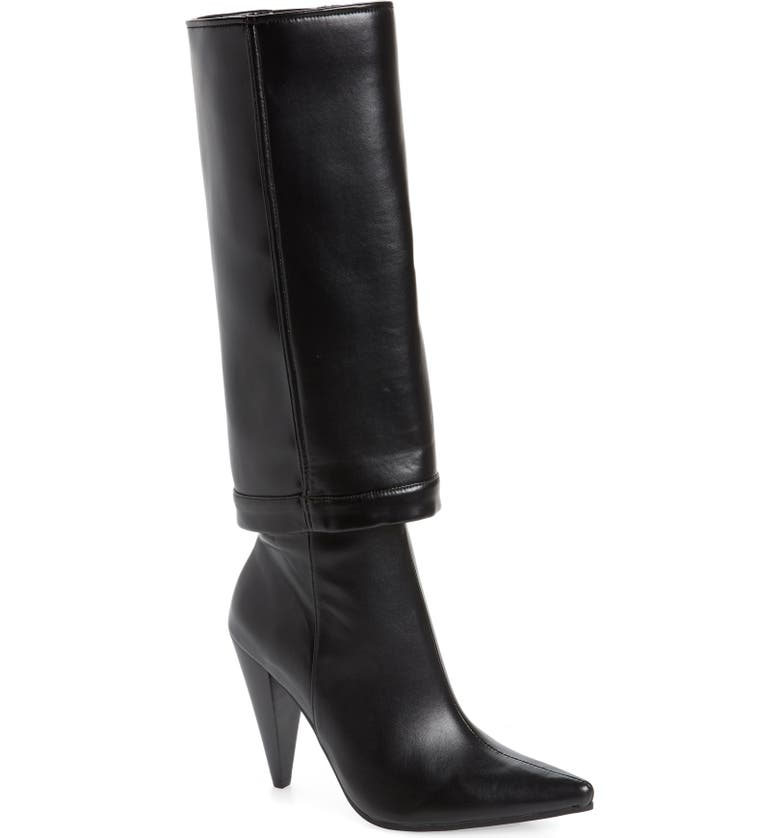 JEFFREY CAMPBELL Sloan Pointed Toe Boot, Main, color, BLACK LEATHER