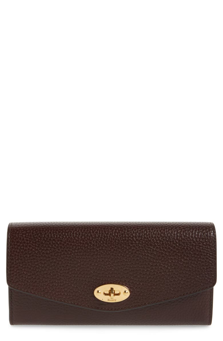 MULBERRY Darley Continental Calfskin Leather Wallet, Main, color, OXBLOOD
