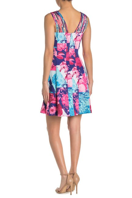 Image of GUESS Floral Colorblock Strappy Fit & Flare Dress