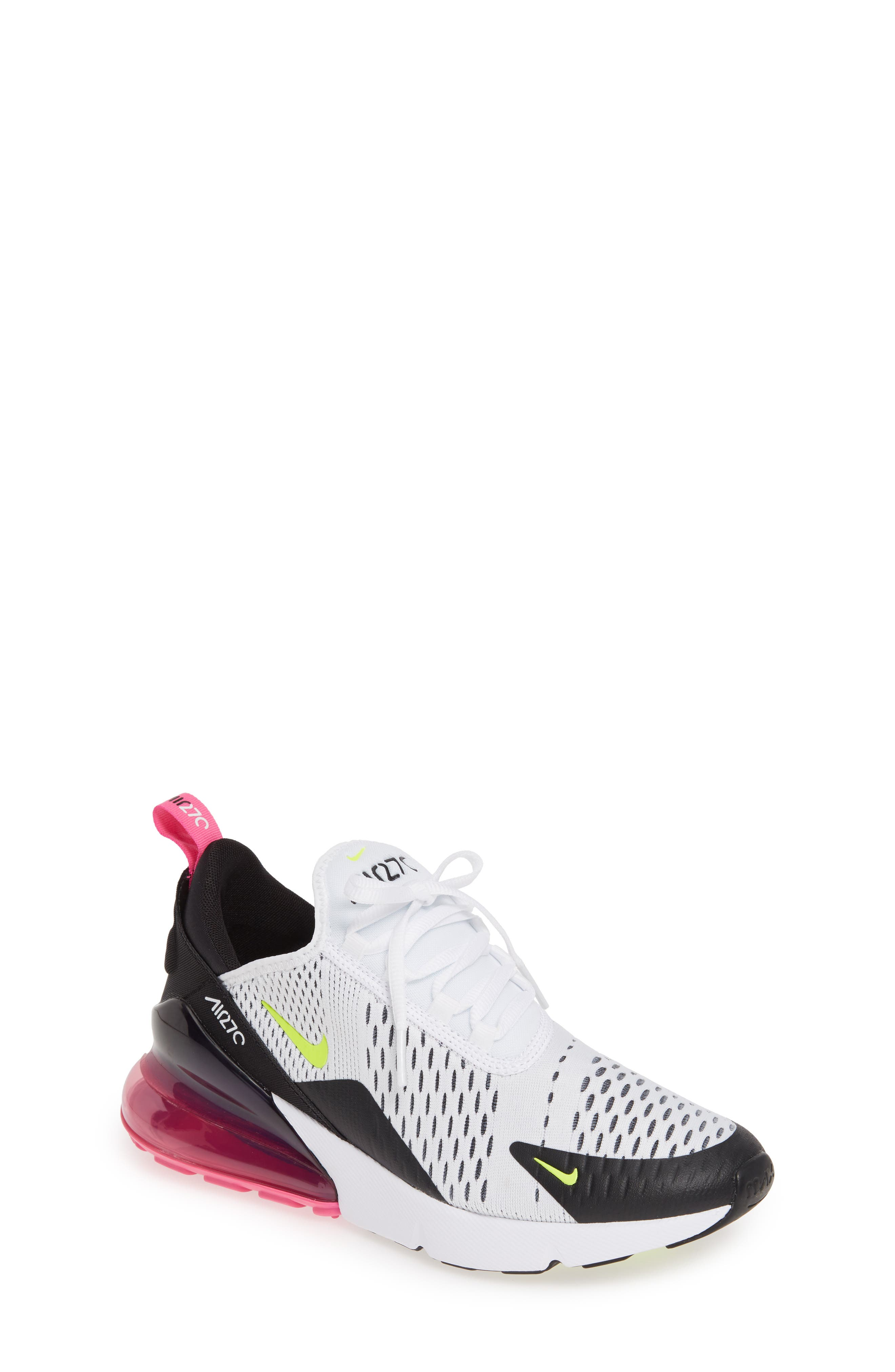 Air Max 270 Sneaker, Main, color, WHITE/ VOLT-BLACK-FUCHSIA
