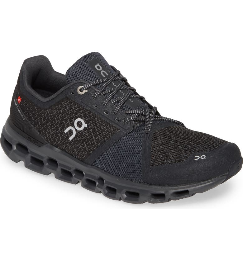 ON Cloudstratus Running Shoe, Main, color, BLACK/ SHADOW