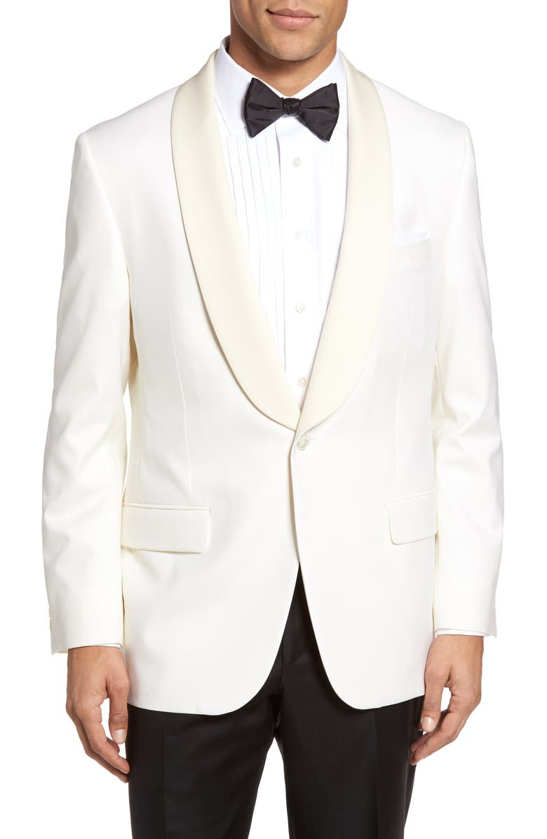 HICKEY FREEMAN Classic B Fit Wool Dinner Jacket, Main, color, IVORY
