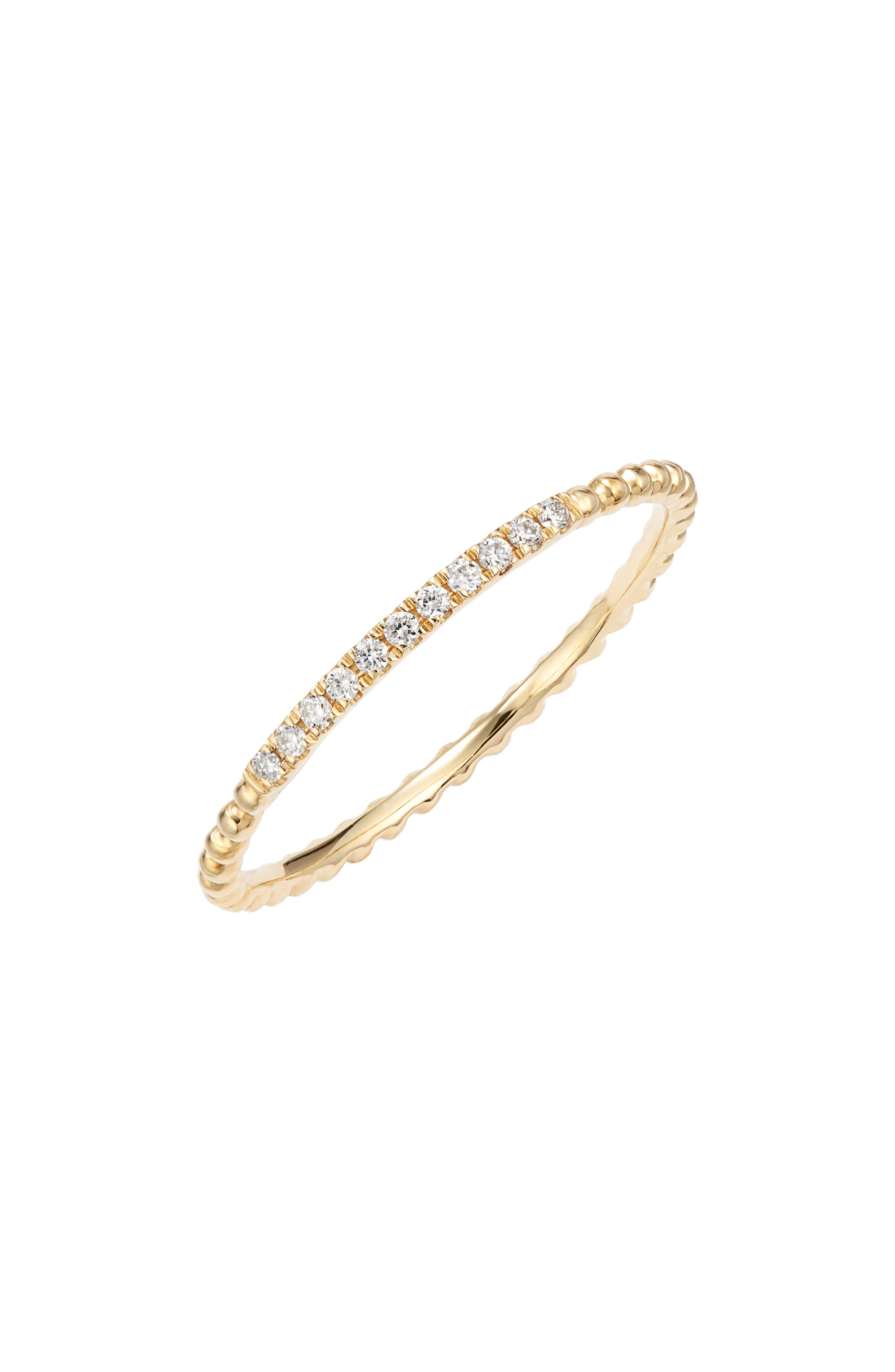 Diamond & 18K Gold Bead Stacking Ring (Nordstrom Exclusive)