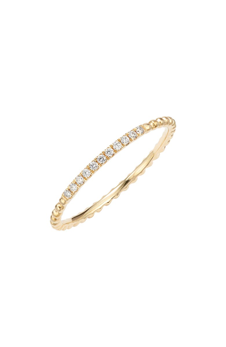 BONY LEVY Diamond & 18K Gold Bead Stacking Ring, Main, color, YELLOW GOLD/ DIAMOND