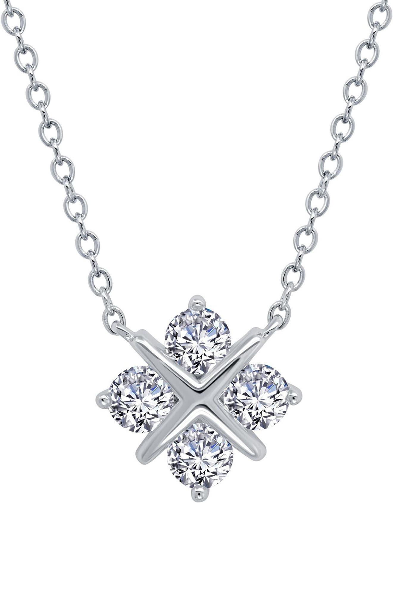 Simple Squad Simulated Diamond Pendant Necklace