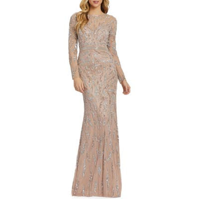 MAC Duggal Beaded Long Sleeve Gown, Beige