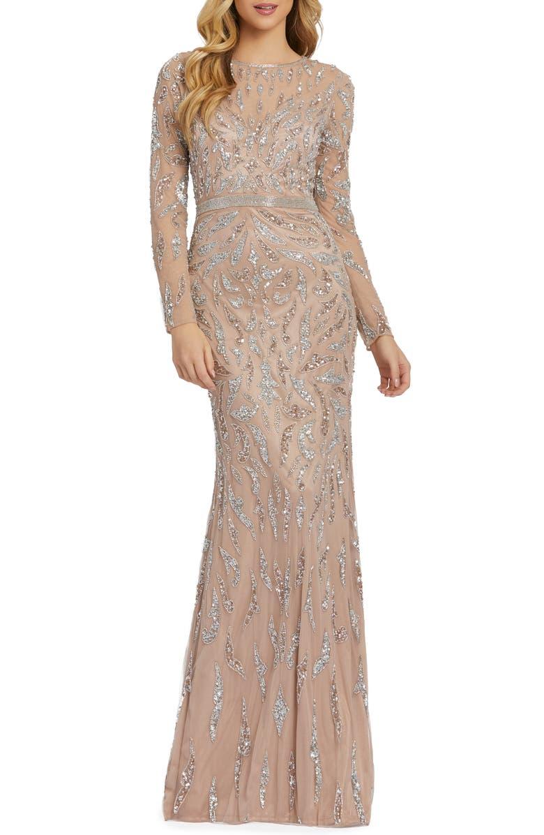 MAC DUGGAL Beaded Long Sleeve Gown, Main, color, MOCHA