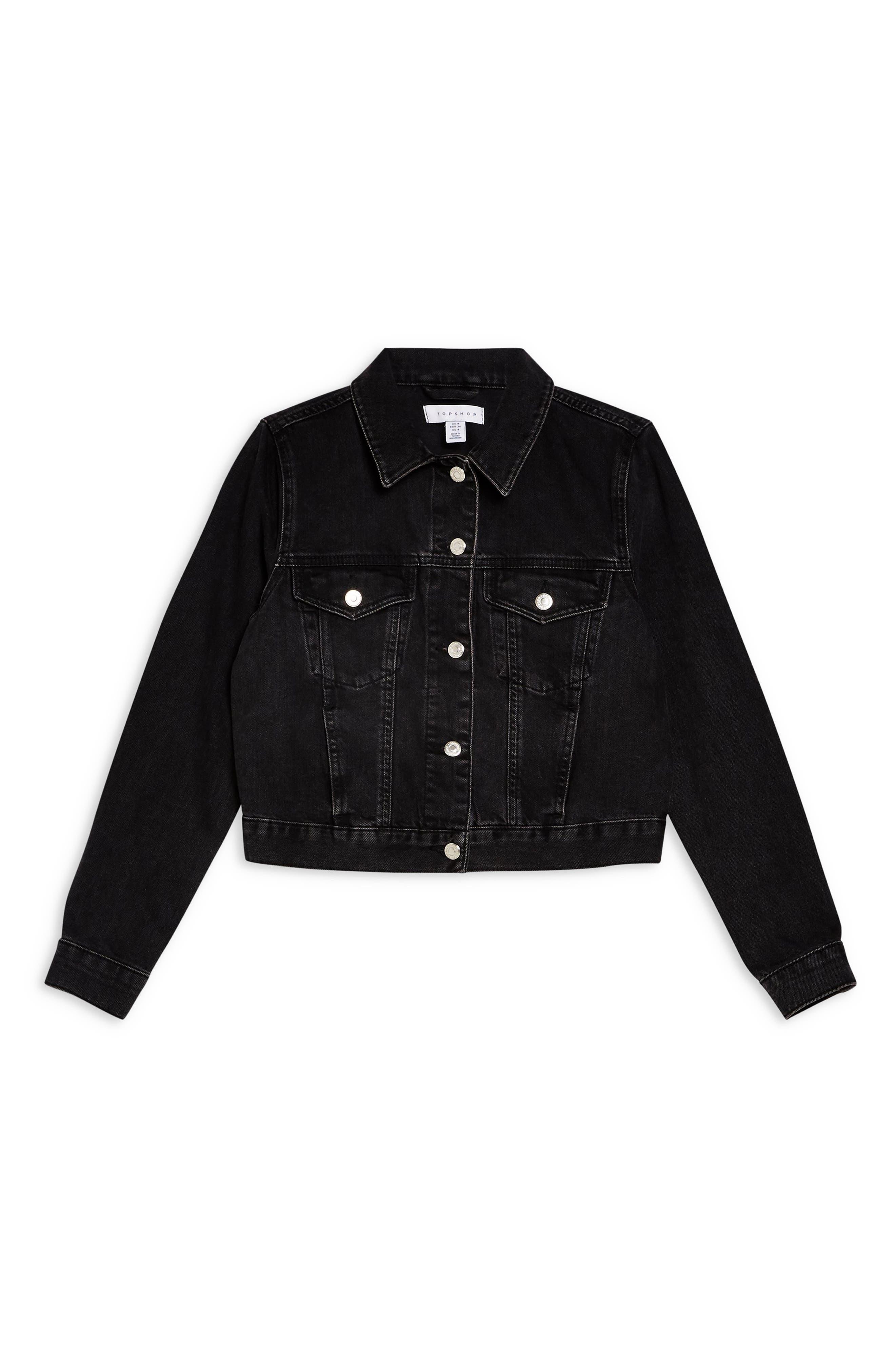 ,                             Fitted Denim Jacket,                             Alternate thumbnail 5, color,                             WASHED BLACK