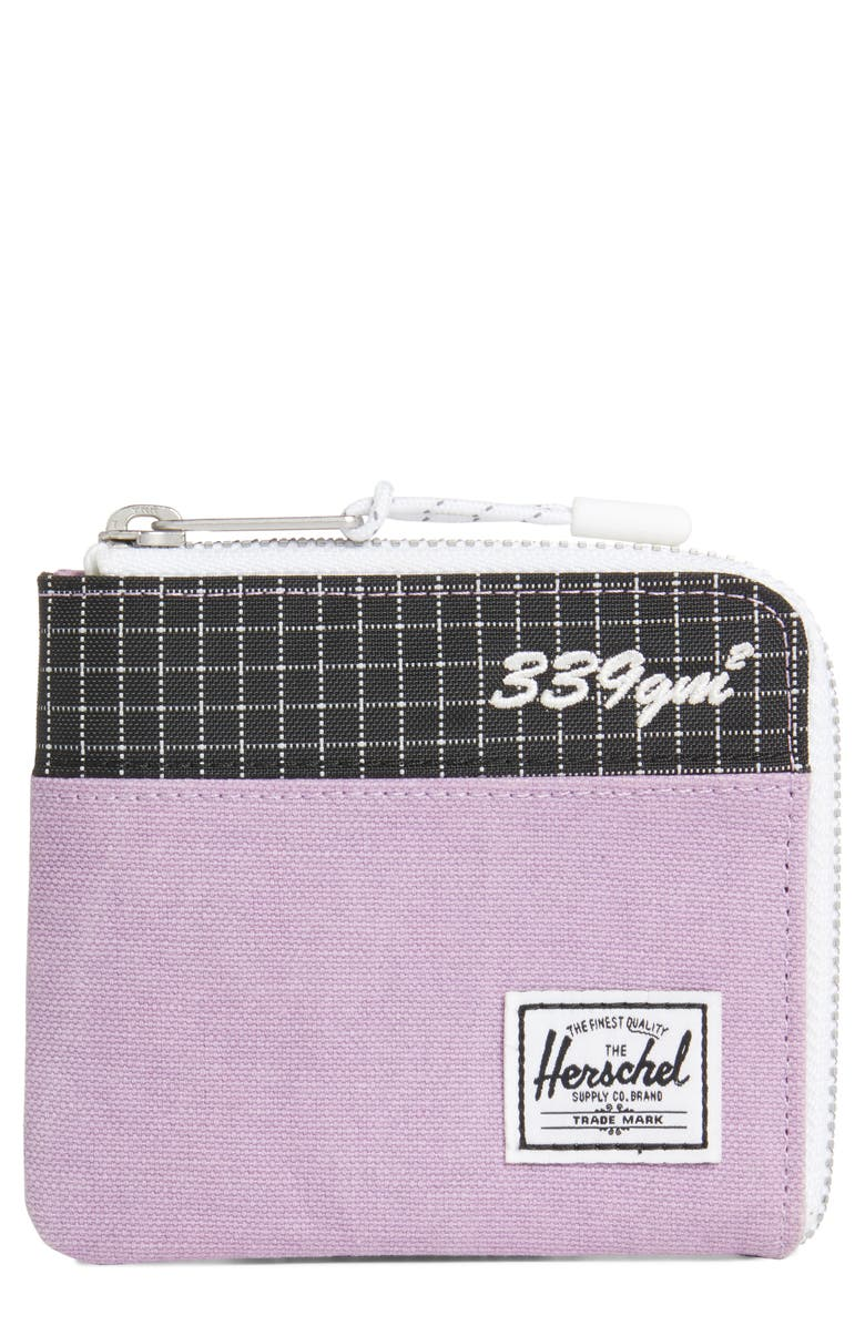 HERSCHEL SUPPLY CO. Johnny Zip Wallet, Main, color, REGAL ORCHID/ BLACK