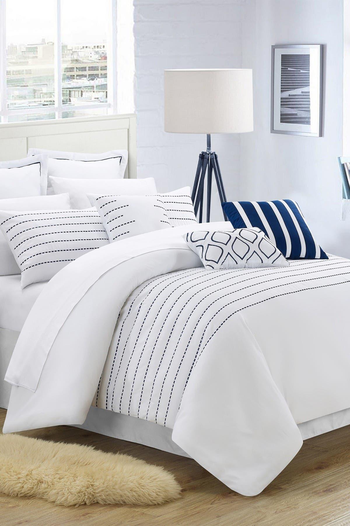 Image of Chic Home Bedding Queen Cranston Super Rich Microfiber Stitch Embroidered Comforter 9-Piece Set - White