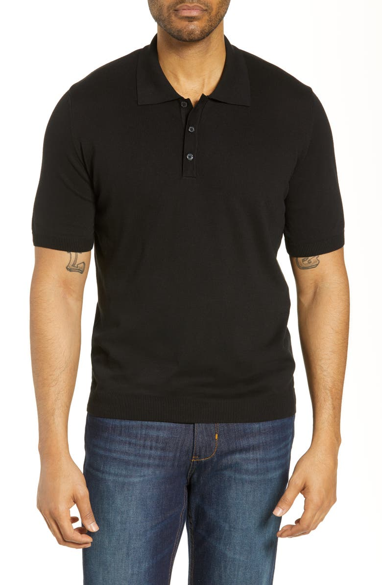 BUGATCHI Regular Fit Polo, Main, color, BLACK