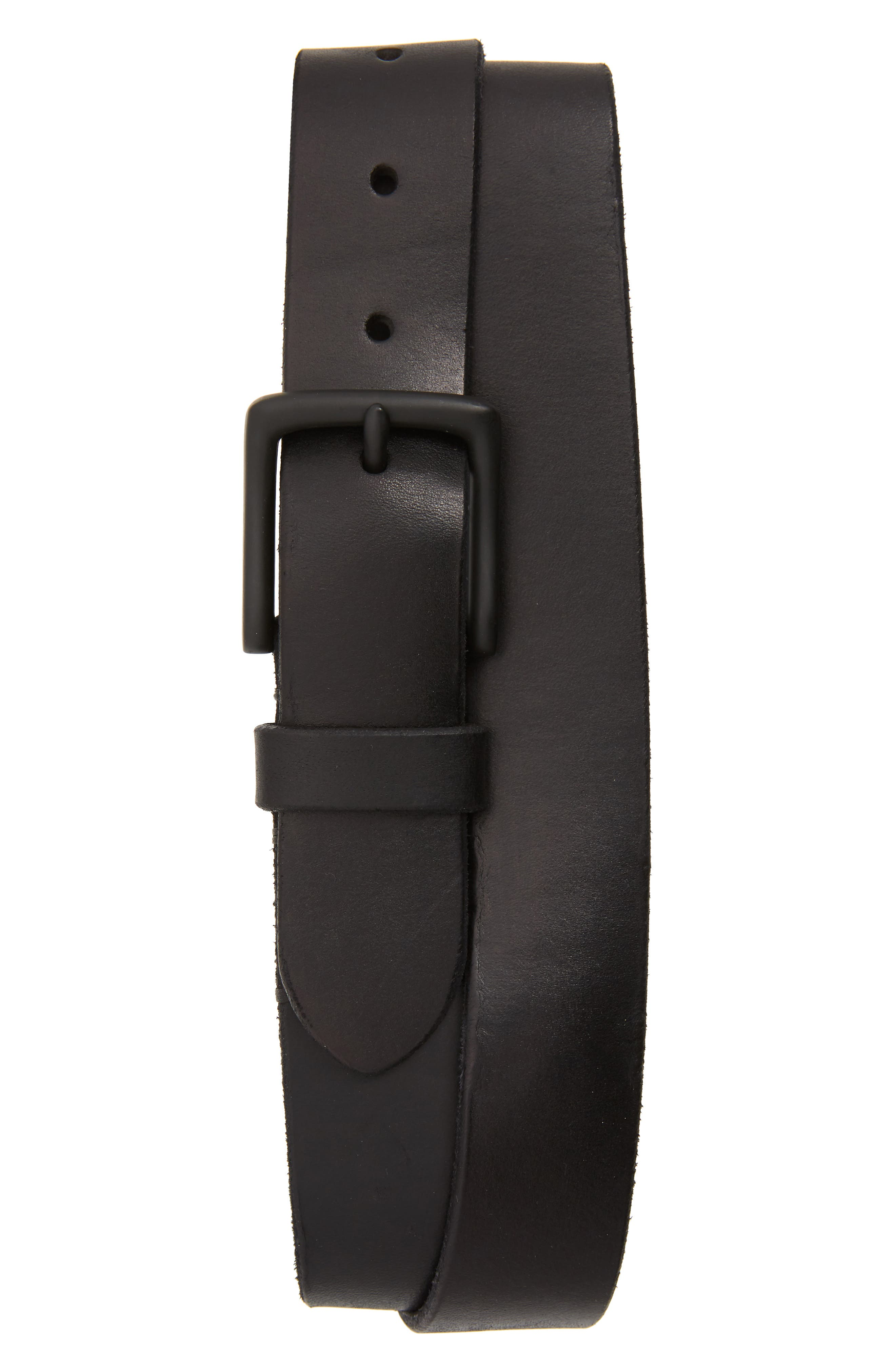 Allsaints Leather Belt, Black/ Matte Black