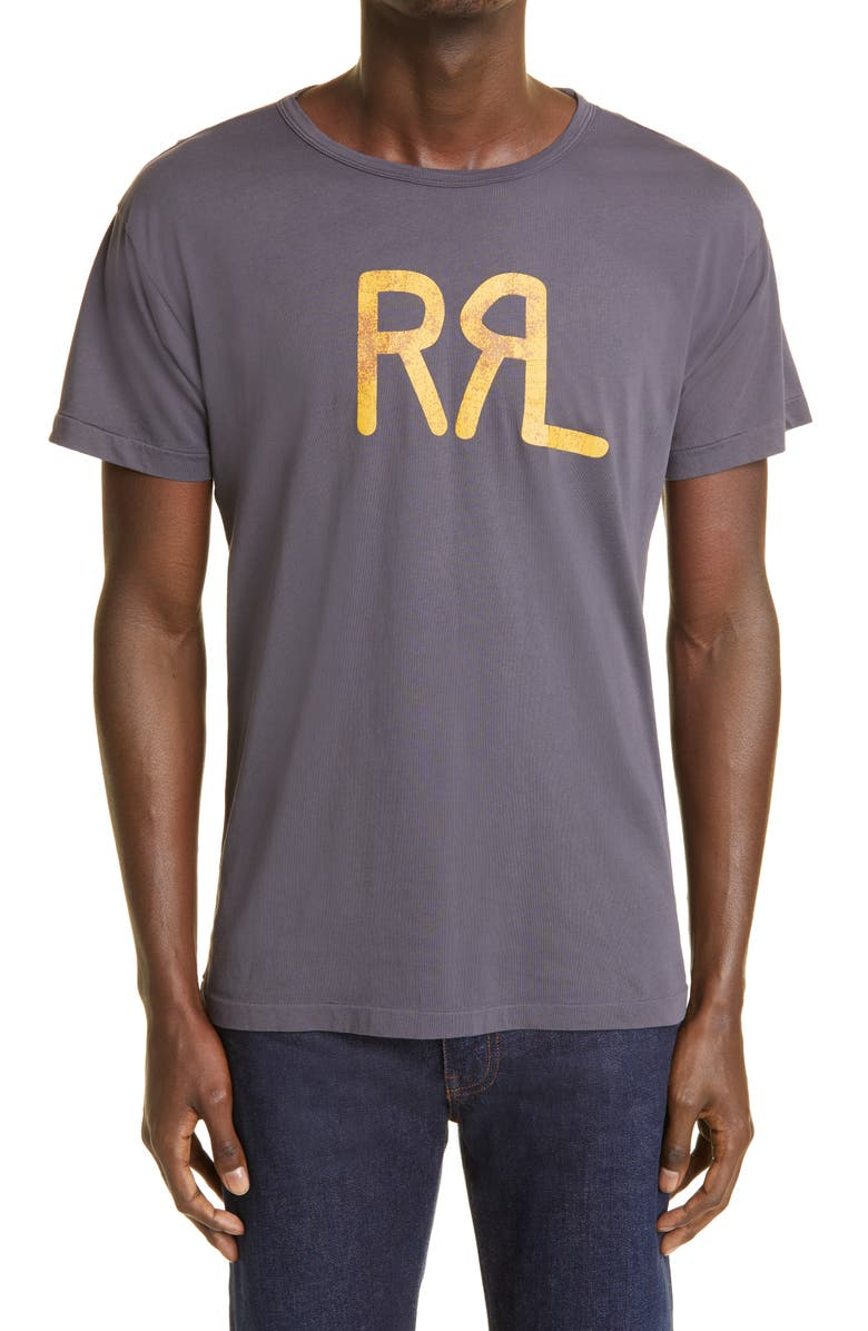 RRL Logo Graphic Tee, Main, color, NAVY