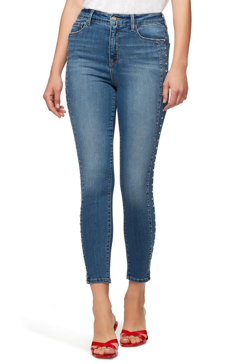 SANCTUARY Social Standard High Waist Stud Detail Ankle Skinny Jeans, Main, color, SONGBIRD