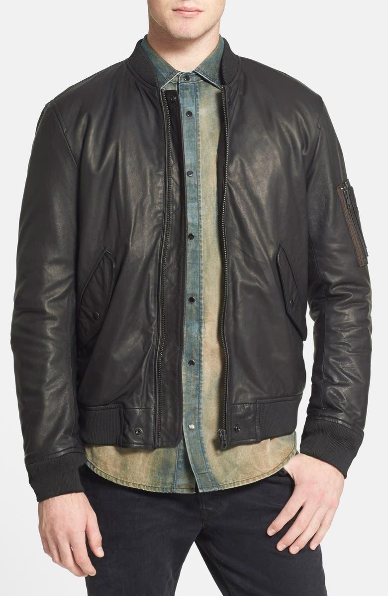 DIESEL<SUP>®</SUP> 'L-Devra' Leather Bomber Jacket, Main, color, 001