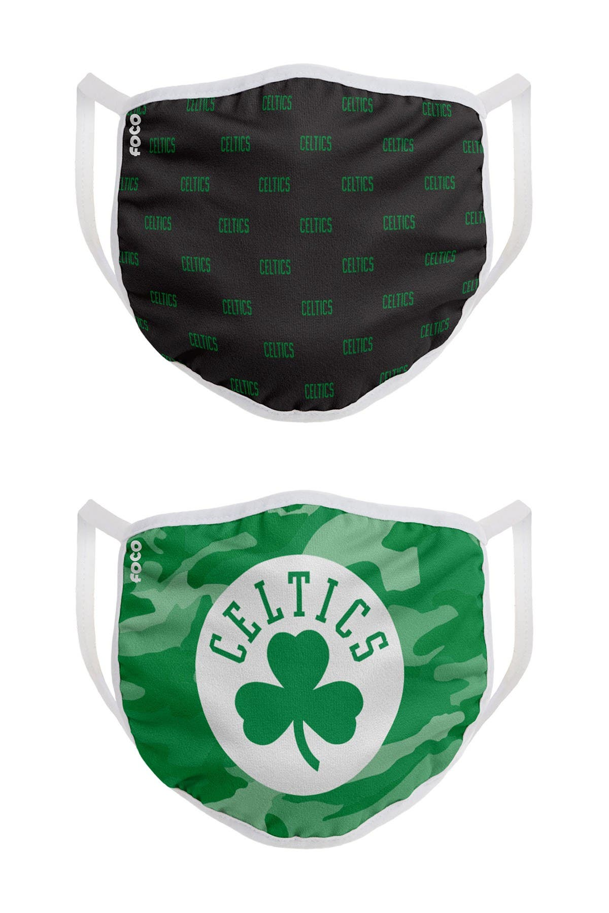 Image of FOCO NBA Boston Celtics Clutch Printed Face Cover - Pack of 2