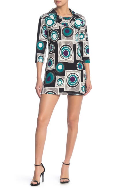 Image of Papillon Foldover Collar Patterned Dress