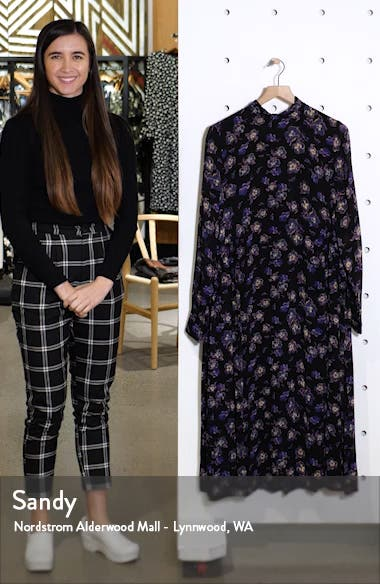 Floral Print Georgette Long Sleeve Midi Dress, sales video thumbnail