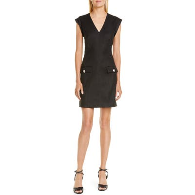 Veronica Beard Skylar Linen Blend Minidress, Black