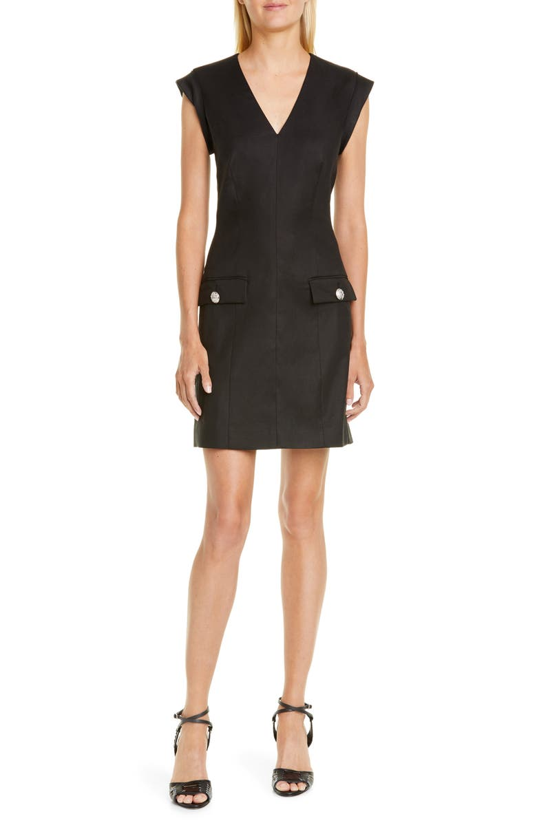 VERONICA BEARD Skylar Linen Blend Minidress, Main, color, BLACK