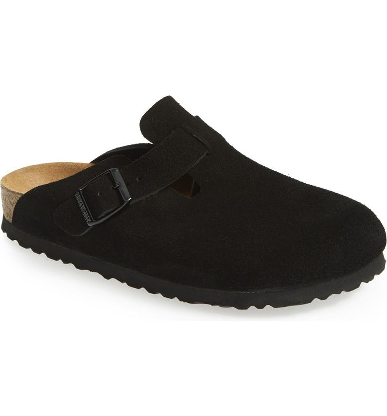 BIRKENSTOCK Boston Soft Footbed Clog, Main, color, BLACK SUEDE
