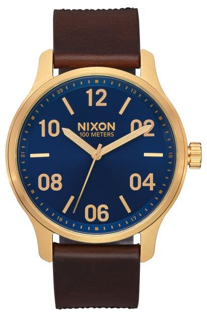 Nixon Watches PATROL LEATHER STRAP WATCH, 42MM