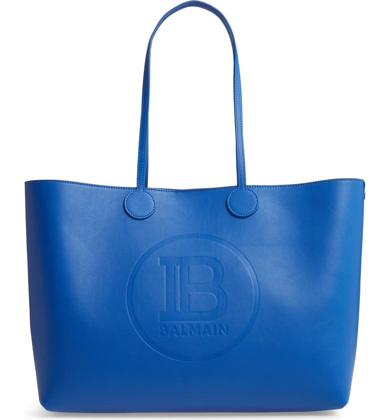 Balmain Medium Calfskin Leather Shopping Bag Tote