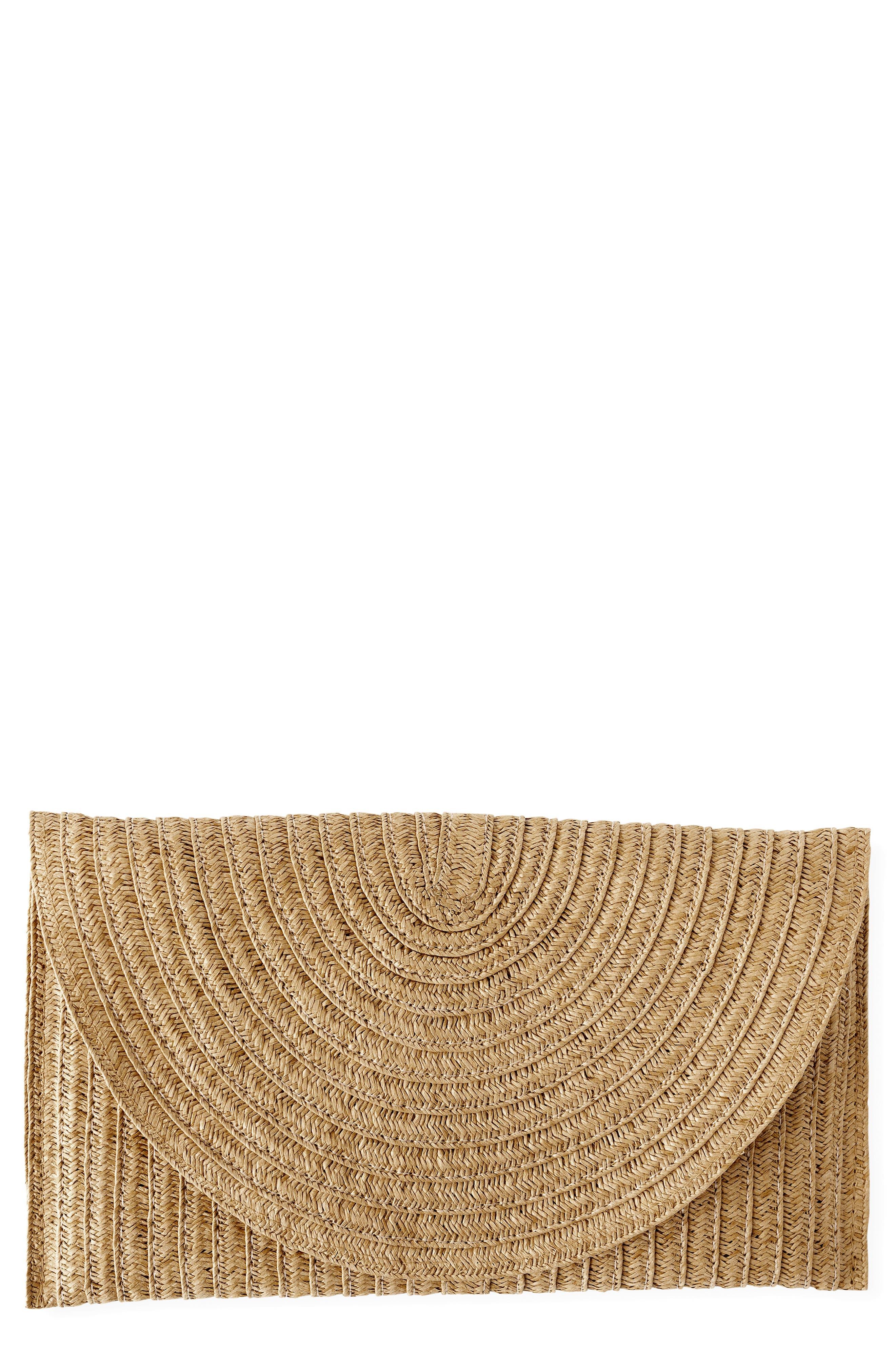 Monogram Straw Envelope Clutch, Main, color, BROWN
