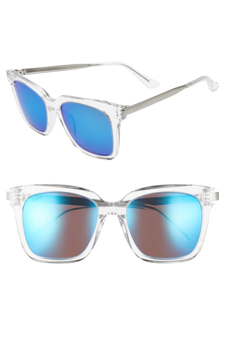 DIFF Bella 50mm Sunglasses, Main, color, CRYSTAL CLEAR/ BLUE