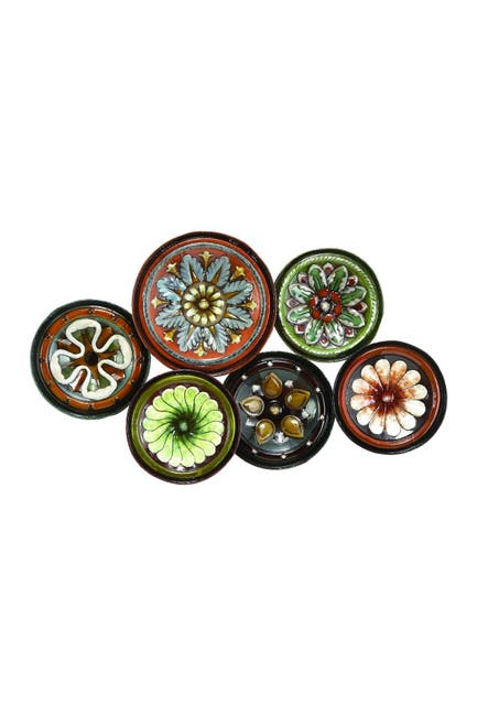 Image of Willow Row Black Contemporary Floral Disc Wall Decor
