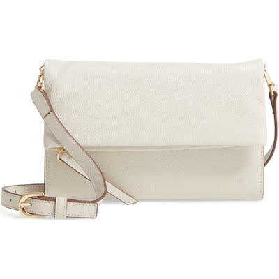 Nordstrom Ellie Leather Crossbody Clutch - Ivory