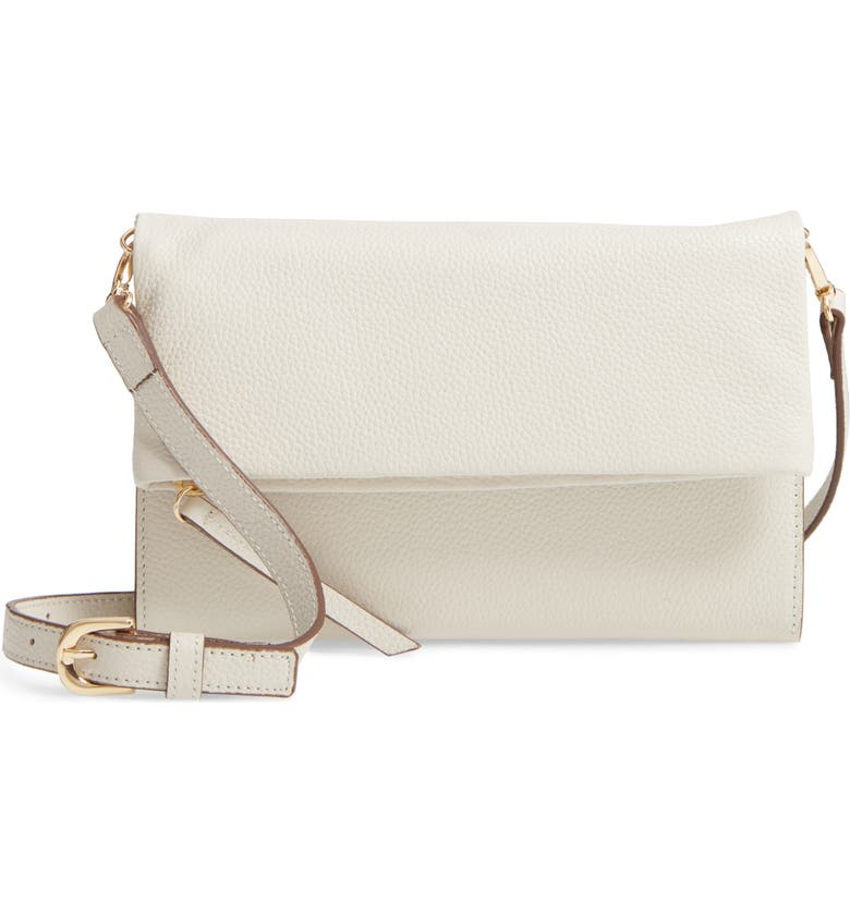 NORDSTROM Ellie Leather Crossbody Clutch, Main, color, IVORY CLOUD