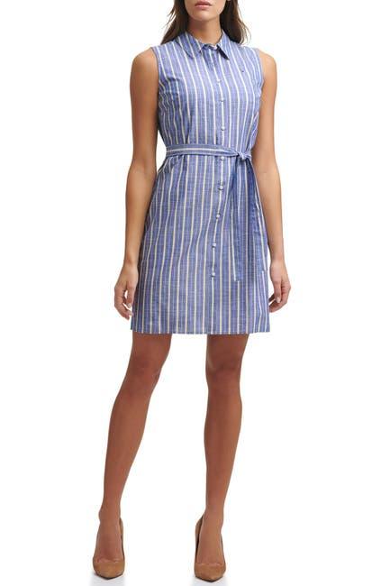 Image of Tommy Hilfiger Sleeveless Chambray Stripe Shirt Tie Waist Dress