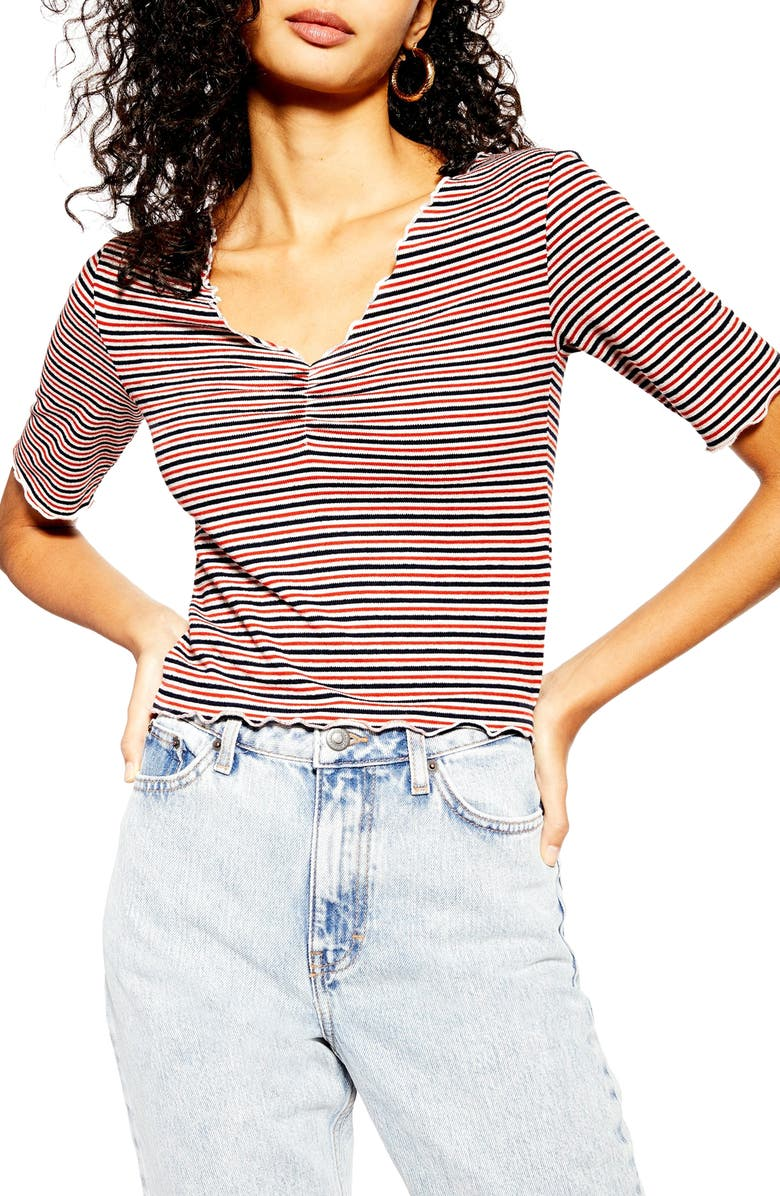 TOPSHOP Stripe Lettuce Trim Tee, Main, color, 600