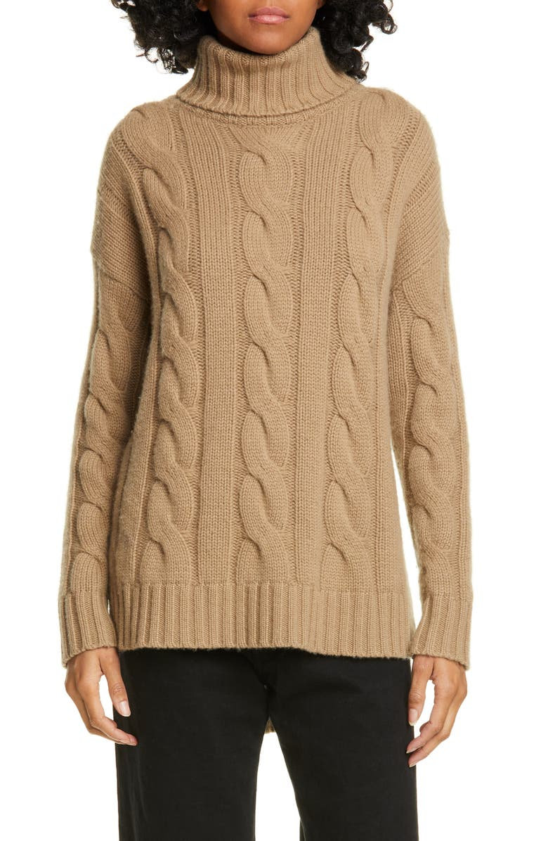 NILI LOTAN Brynne Cashmere Cable Sweater, Main, color, DUNE