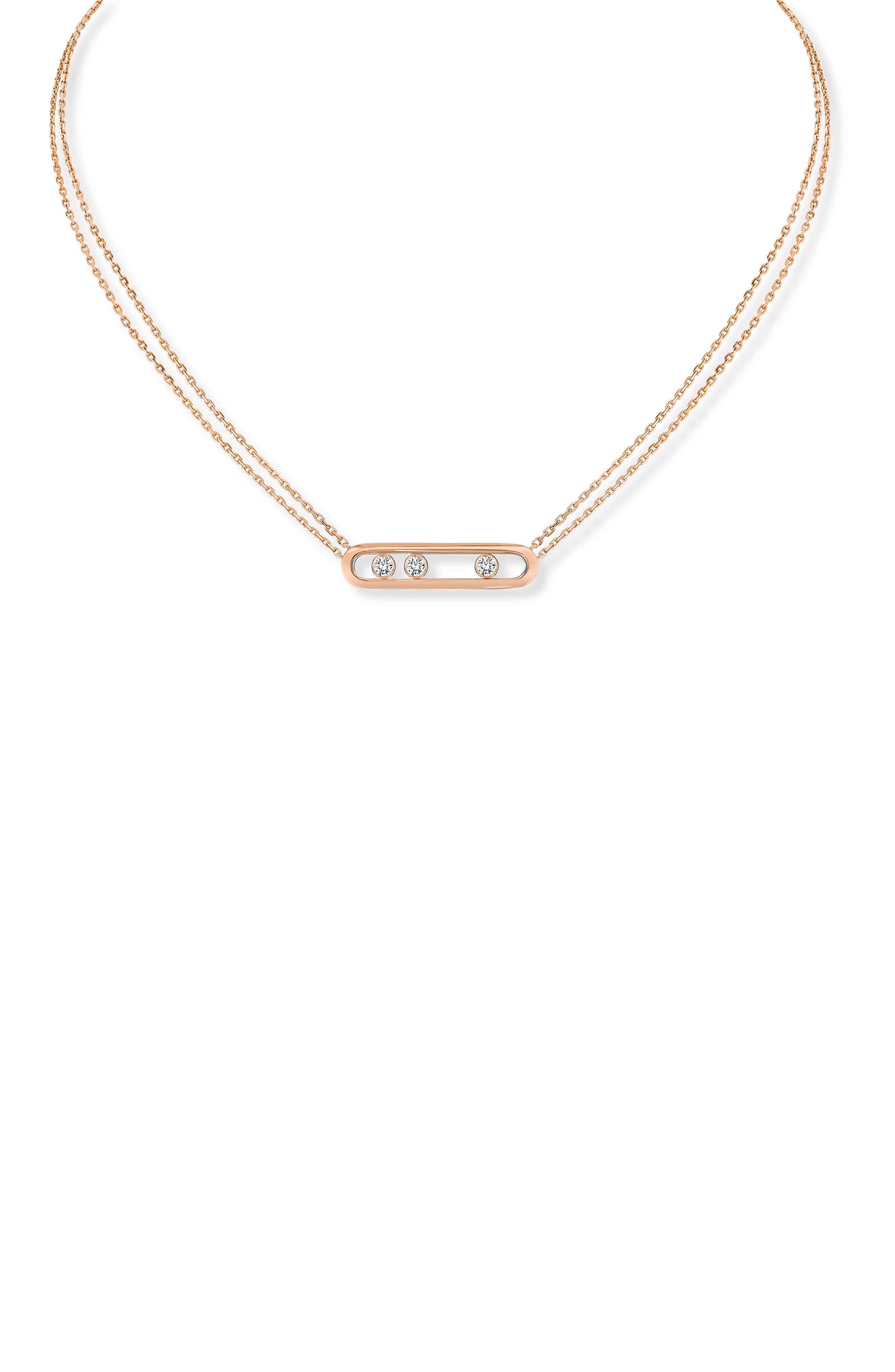 ,                             Two Strand Move Diamond Necklace,                             Main thumbnail 1, color,                             ROSE GOLD