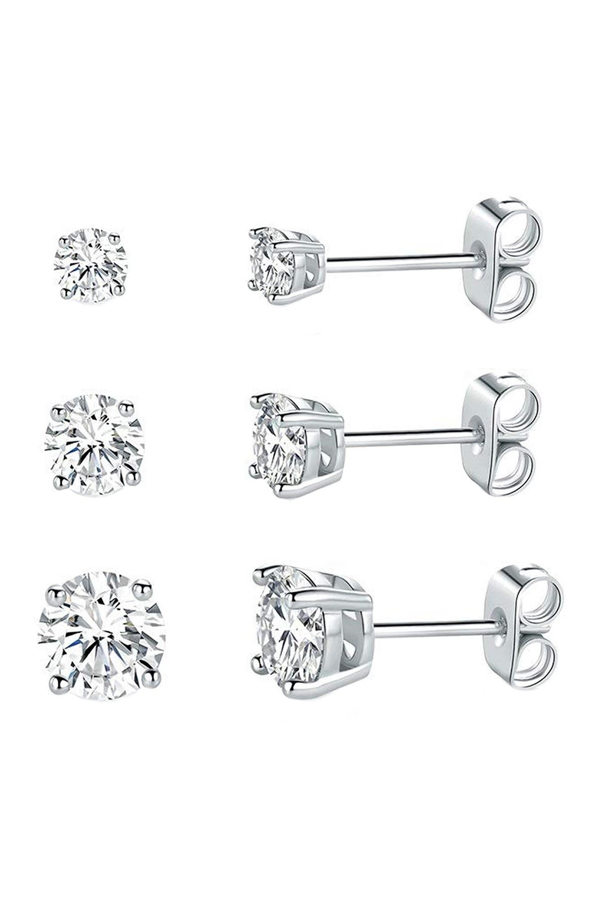Image of Savvy Cie Sterling Silver Round-Cut Multi Sized CZ Stud Earring Set